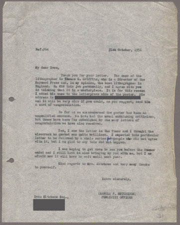 Related object: Letter; from Harold Hutchison to Ivon Hitchens about his poster design, 31 October 1951
