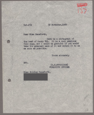 Related object: Letter; from Harold Hutchison to Shirley Mensforth about her poster, 30 November 1960