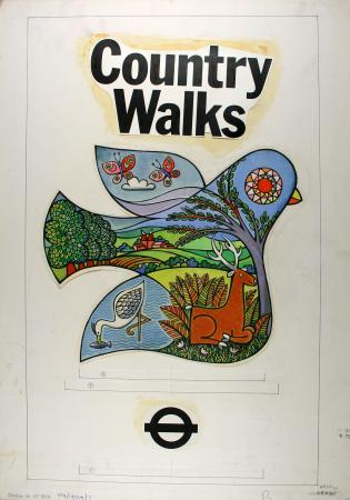 Poster artwork; country walks, by harry stevens, 1975