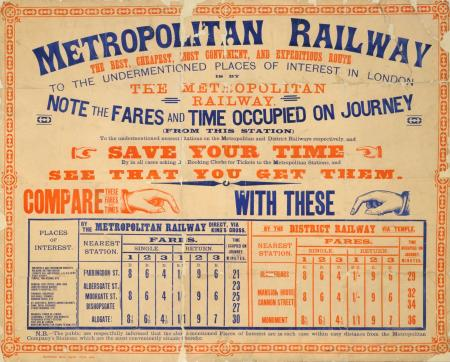 Poster; Metropolitan Railway fare chart, issued by the Metropolitan Railway, July 1886
