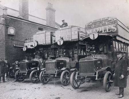 B/w print; new london general omnibus company b-type buses and crews at cricklewood bus garage, 1911