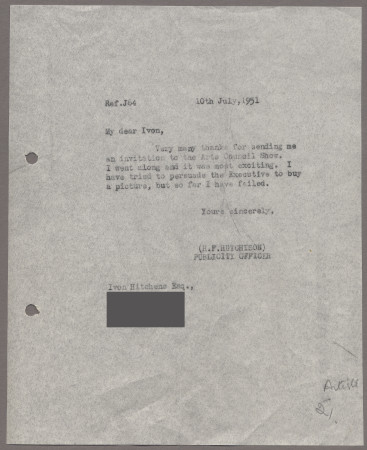 Related object: Letter; from Harold Hutchison to Ivon Hitchins about an invitation to the Arts Council Show, 10 July 1951