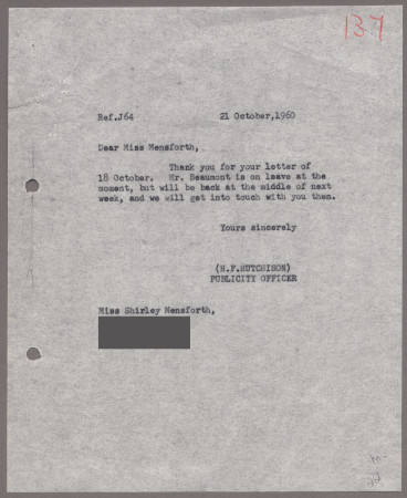 Related object: Letter; from H F Hutchison to Shirley Mensforth about her poster, 21 October 1960