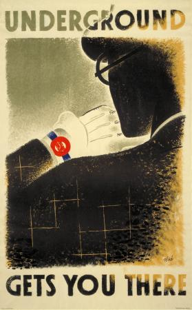 Poster; underground gets you there, by zero (hans schleger), 1935