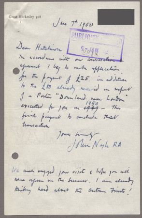 Related object: Letter; from John Nash to Harold Hutchison about payment for his poster design, 7 January 1952