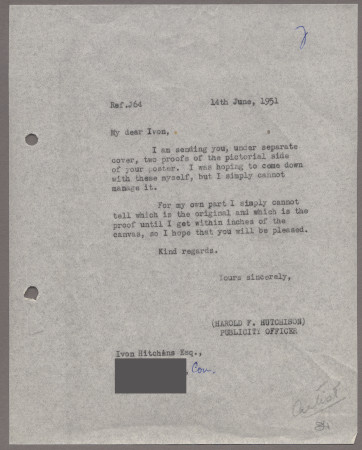 Related object: Letter; from Harold Hutchison to Ivon Hitchens about a poster design, 14 June 1951