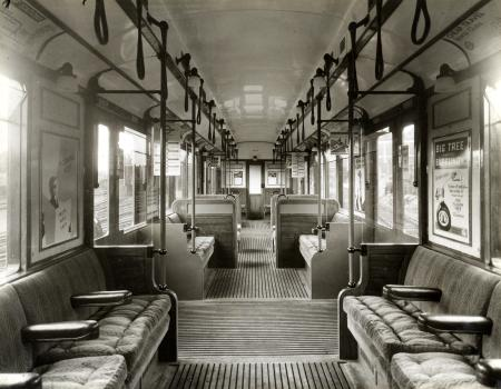 B/w print; interior of hammersmith & city line q35-stock motor car no 4403, with air-controlled doors by topical press, 13 jul 1936