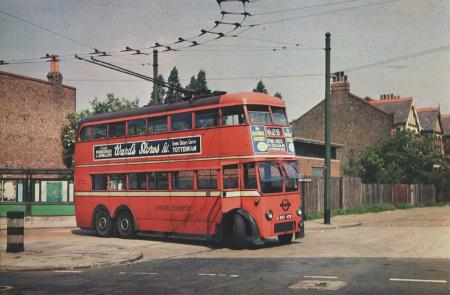 Related object: Colour transparency; Trolleybus 479, D2 class, at the Forest Road Walthamstow terminus of route 625 by C Carter, 1950