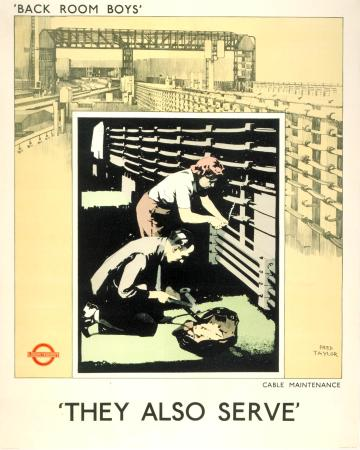 Poster; Back room boys, they also serve; cable maintenance, by Fred Taylor, 1942