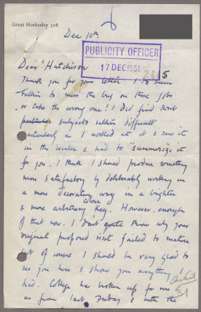 Related object: Letter; from John Nash to Harold Hutchison about his poster design, 10 December 1951