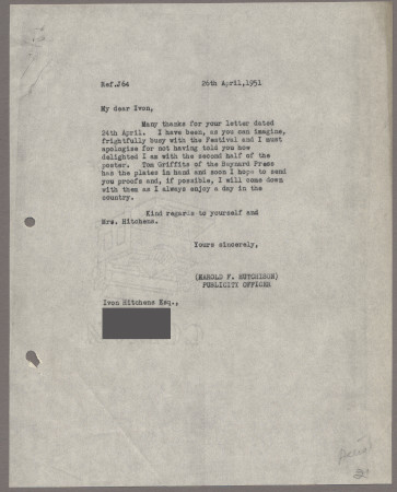 Related object: Letter; from Harold Hutchison to Ivon Hitchins about a poster design, 26 April 1951