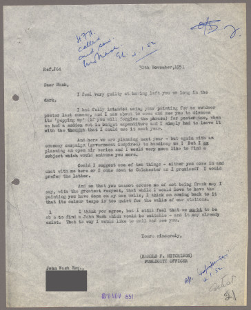Related object: Letter; from Harold Hutchison to John Nash explaining why his poster design was not used, 30 November 1951