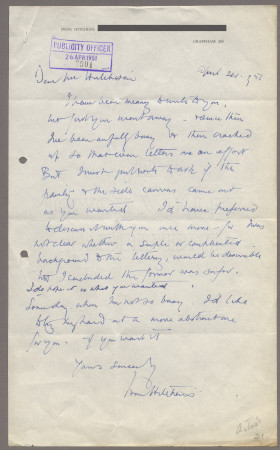 Related object: Letter; from Ivon Hitchins to Harold Hutchison about a poster design, 23 August 1950