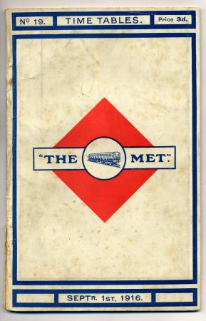 Timetable; Metropolitan Railway timetable and map with amendments slip No. 19, 1 September 1916
