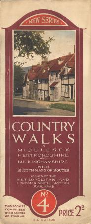 Booklet, country walks in middlesex, hertfordshire and buckinghamshire with sketch maps of routes, no 4 19th edition, issued by the metropolitan railway and lner, may 1929