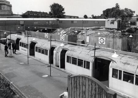 BW print; High angle shot of one of the platforms at Hounslow West station by John Wender, circa 1975
