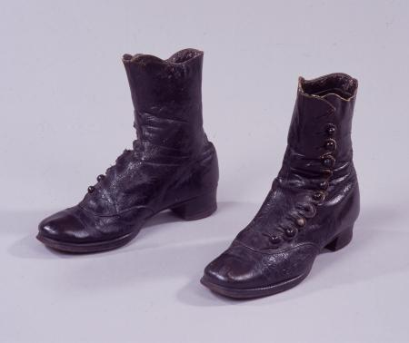 Pair of boots; button boots as worn by female bus conductor, 1916-1919