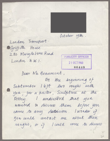 Related object: Letter; from Shirley Mensforth to Bryce Beaumont about her poster, 19 October 1960