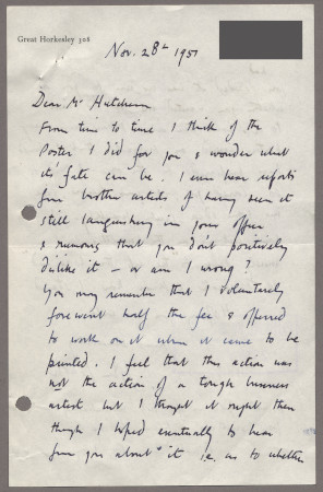 Related object: Letter; from John Nash to Harold Hutchison about progress with his poster design, 28 November 1951