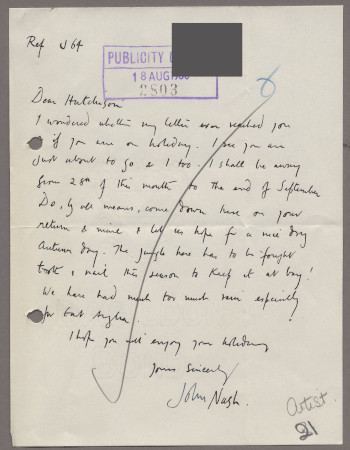 Related object: Letter; from John Nash to Harold Hutchison about progress with his poster design with sketch of proposed design, 18 August 1950