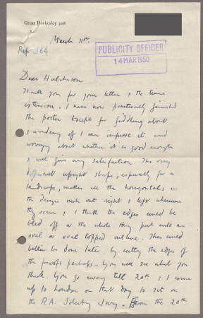 Related object: Letter; from John Nash to Harold Hutchison about progress with his poster design with sketch of proposed design, 11 March 1950
