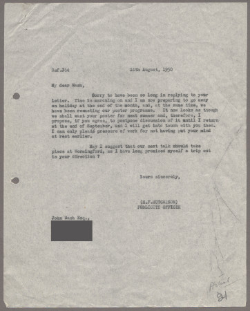 Related object: Letter; from Harold Hutchison to John Nash about progress with his poster design, 14 August 1950