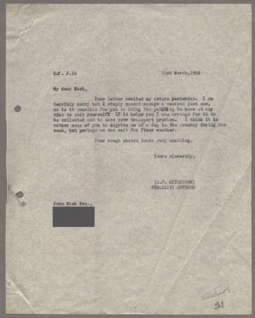 Related object: Letter; from Harold Hutchison to John Nash about progress with his poster design, 21 March 1950