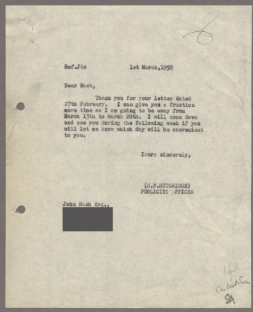 Related object: Letter; from Harold Hutchison to John Nash about progress with his poster design, 1 March 1950