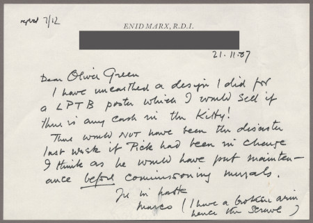 Related object: Letter; from Enid Marx to Oliver Green about her poster for LPTB, 21 November 1987
