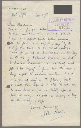 Related object: Letter; from John Nash to Harold Hutchison about progress with his poster design, 28 February 1950