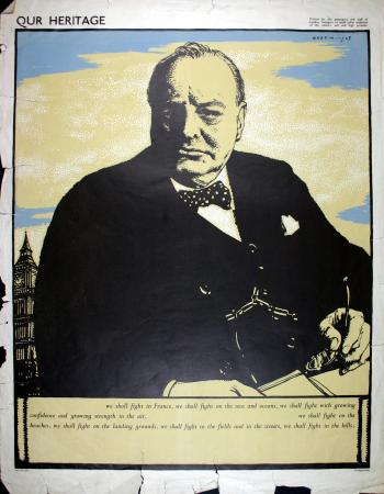 Poster artwork; our heritage winston churchill, by robert sargent austin, 1943