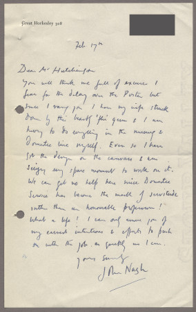 Related object: Letter; from John Nash to Harold Hutchison about the delay in producing his poster design, 17 February 1950