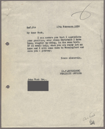 Related object: Letter; from Harold Hutchison to John Nash about the delay in producing the poster proof, 17 February 1950