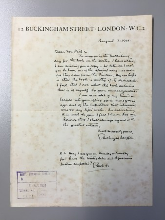 Related object: Letter; from Edward McKnight Kauffer to Frank Pick, regarding the presentation of his book The Art of the Poster, 7 August 1924