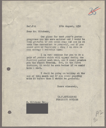 Related object: Letter; from Harold Hutchison to Ivon Hitchins about a poster design, 18 August 1950