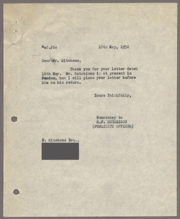 Related object: Letter; from Harold Hutchison to Ivon Hitchins about a poster design, 18 May 1950