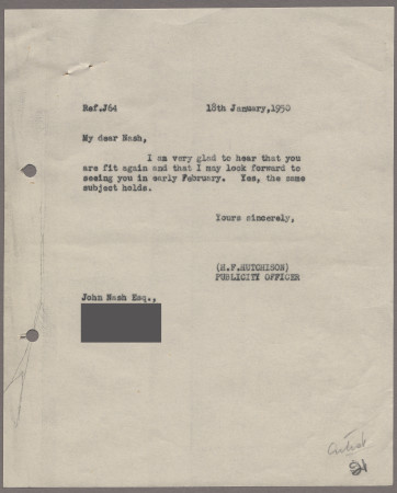 Related object: Letter; from Harold Hutchison to John Nash about a visit, 18 January 1950.