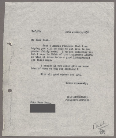 Related object: Letter; from Harold Hutchison to John Nash about his poster, 10 January 1950