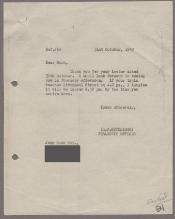 Related object: Letter; from Harold Hutchison to John Nash about his poster, 31 October 1949