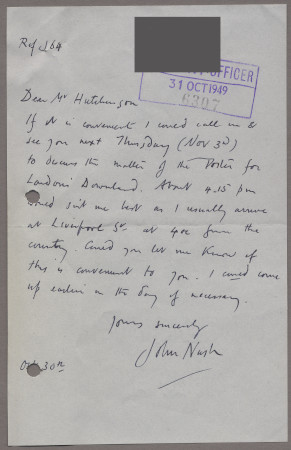Related object: Letter; from John Nash to Harold Hutchison about his poster, 31 October 1949