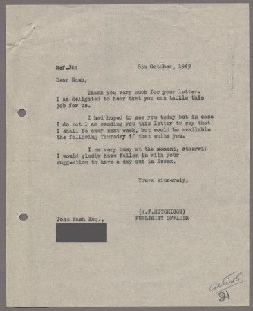 Related object: Letter; from Harold Hutchison to John Nash about his poster, 6 October 1949