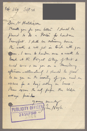 Related object: Letter; from John Nash to Harold Hutchison about designing a poster, 26 September 1949