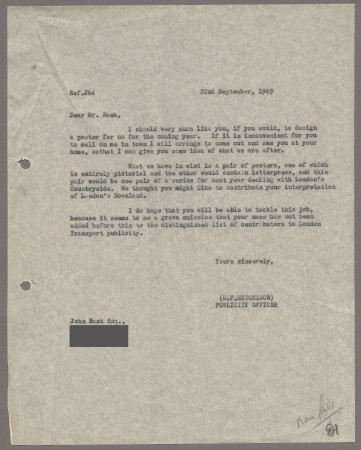 Related object: Letter; from Harold Hutchison to John Nash asking him to design a poster, 22 September 1949
