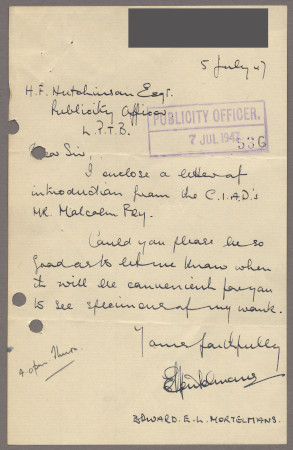Related object: Letter; from Edward Mortelmans to Harold Hutchison requesting a meeting, 5 July 1947