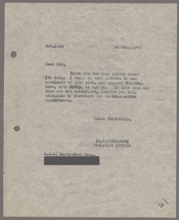 Related object: Letter; from Harold Hutchison to Edward Mortelmans about a meeting, 7 July 1947