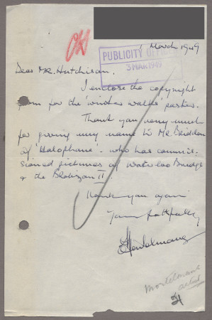 Related object: Letter; from Edward Mortelmans to Harold Hutchison about the copyright form for