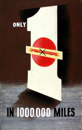 Related object: Poster artwork; Only 1 in 1000,000 miles, by Tom Eckersley, 1953