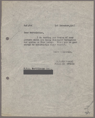 Related object: Letter; from Harold Hutchison to Edward Mortelmans about his poster, 1 December 1948
