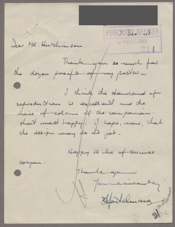 Related object: Letter; from Edward Mortelmans to Harold Hutchison about his poster, 7 December 1948