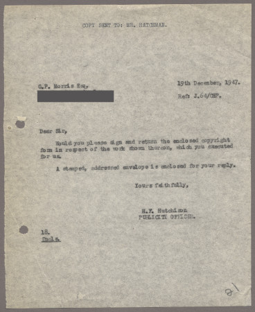 Related object: Letter; from Harold Hutchison to G. P. Morris requesting that he sign the copyright form for his poster, 19 December 1947